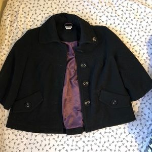 Quarter length pea coat with large buttons